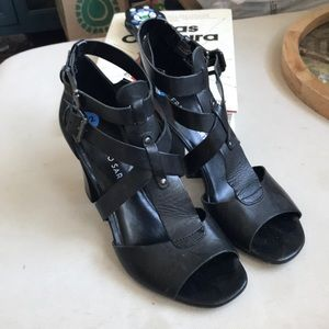 Black Strappy Block Heels